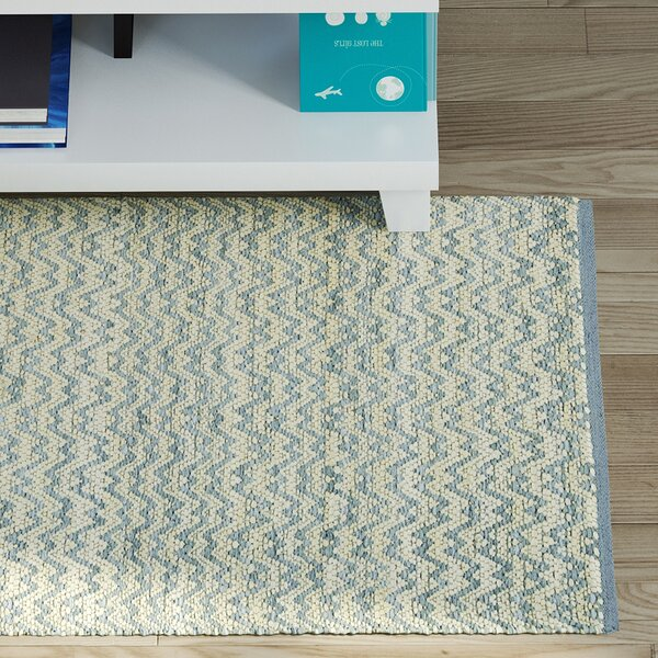 Millington Light Blue/Ivory Cotton Area Rug by Wrought Studio