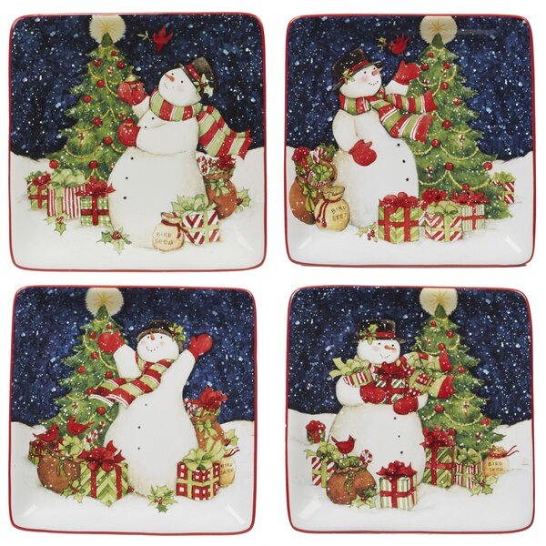 Delilah Snowman 4 Piece Bread and Butter Plate Set