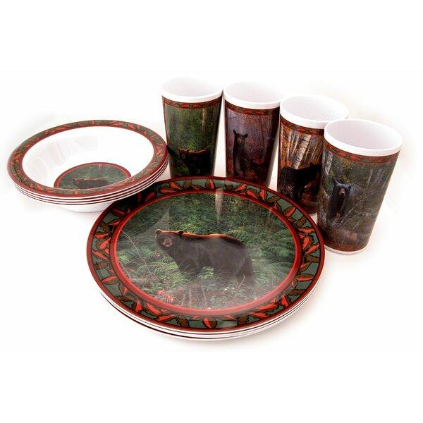 Bear Melamine 12 Piece Dinnerware Set, Service for 4 by MotorHead Products