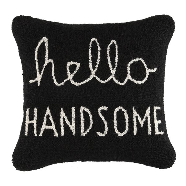 Hello Handsome Square Hook Wool Throw Pillow by Peking Handicraft