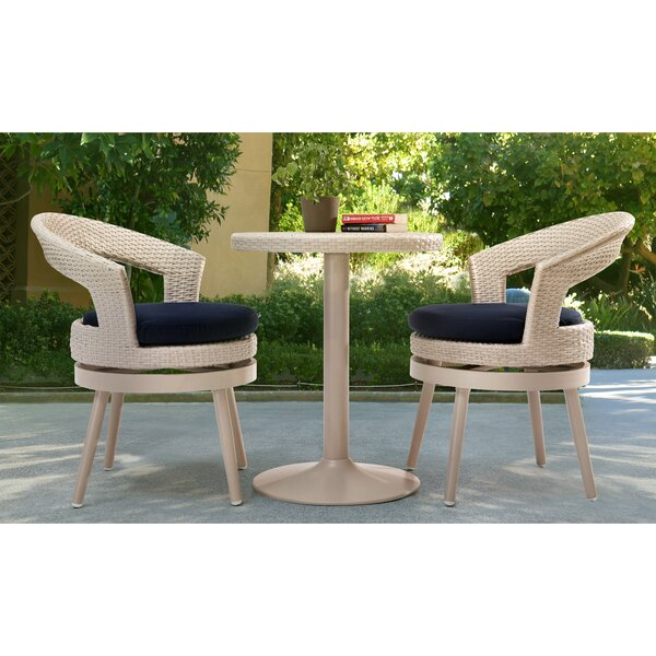 Harborcreek 3 Piece Aluminum Bistro Set with Cushions by Red Barrel Studio