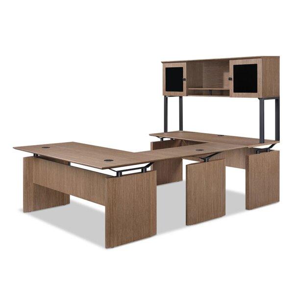 Diamond Reversible U-Shaped Desk with Hutch