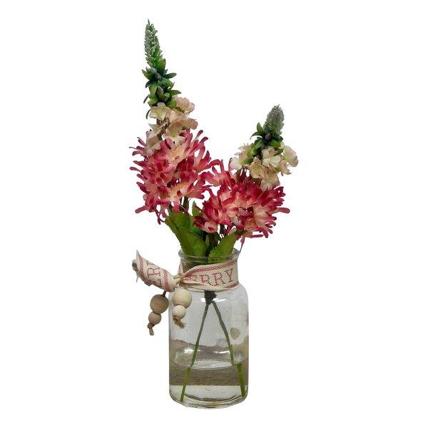 Mountain Hydrangeas Floral Arrangement in Glass Vase by Gracie Oaks