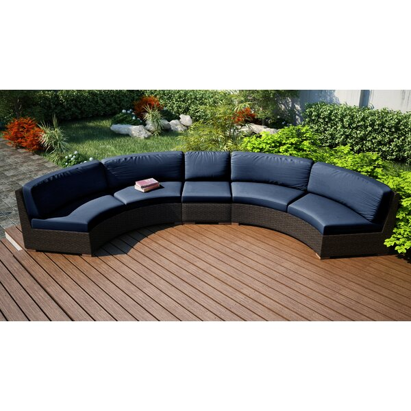 Hodge Extended Curved Patio Sectional with Cushions by Rosecliff Heights