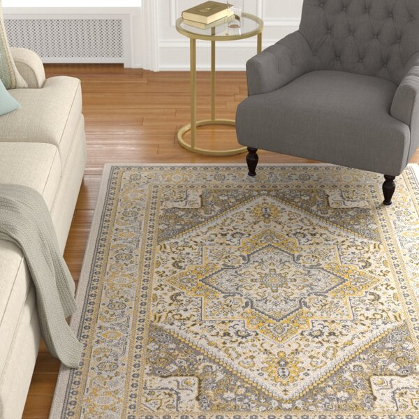 Pickerel Light Yellow/Gray Area Rug by Astoria Grand