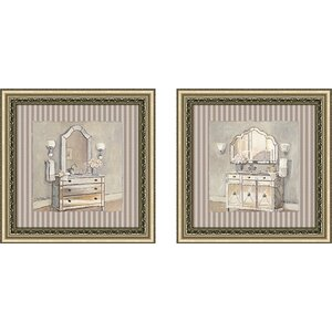 Champagne Bath' 2 Piece Framed Acrylic Painting Print Set Under Glass by Ophelia & Co.