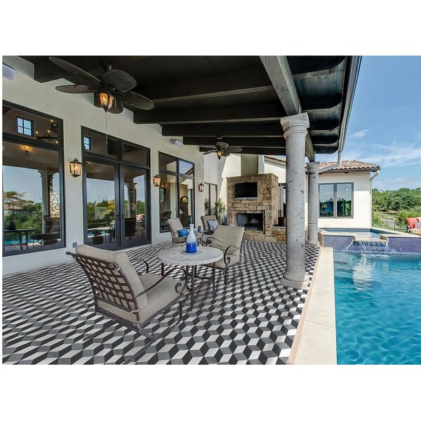 MeaLu 8 x 8 Harlequin Cement Decorative Concrete Tile (Set of 4) by Rustico Tile & Stone