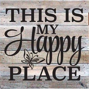 'This is My Happy Place' Textual Art on Wood in White by Artistic Reflections
