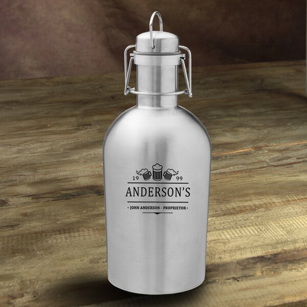 3 Beers Personalized 64 oz. Stainless Steel Growler by JDS Personalized Gifts