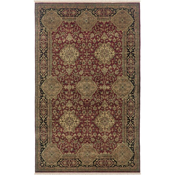 Uravakonda Hand-Knotted Burgundy Area Rug by Meridian Rugmakers