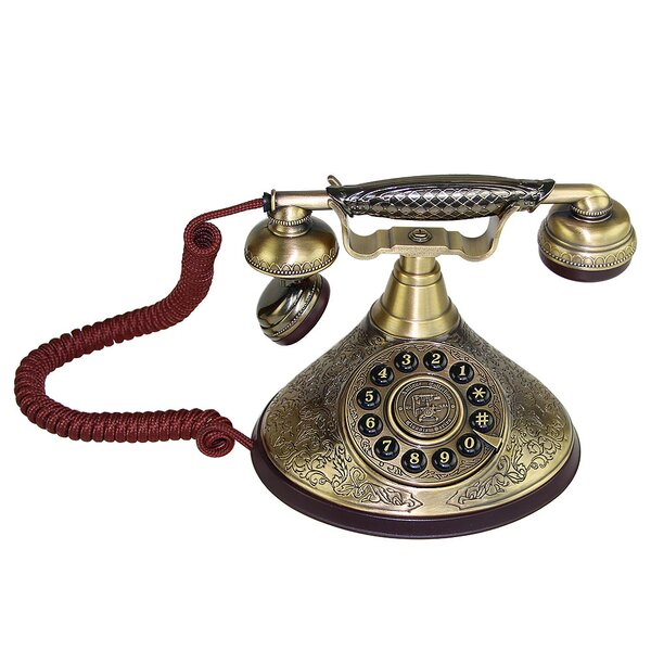 Rotary Dial Desk Corded Telephone by LNC Home