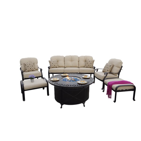 Bulter 6-Piece Sofa Seating Fire Pit Chat Set with Cushions and Pillows by Canora Grey