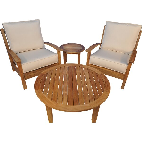 Teak 4 Piece Teak Sunbrella Conversation Set with Cushions by Regal Teak
