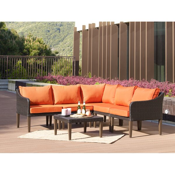 Fentress 6 Piece Rattan Sectional Seating Group with Cushions by Ebern Designs
