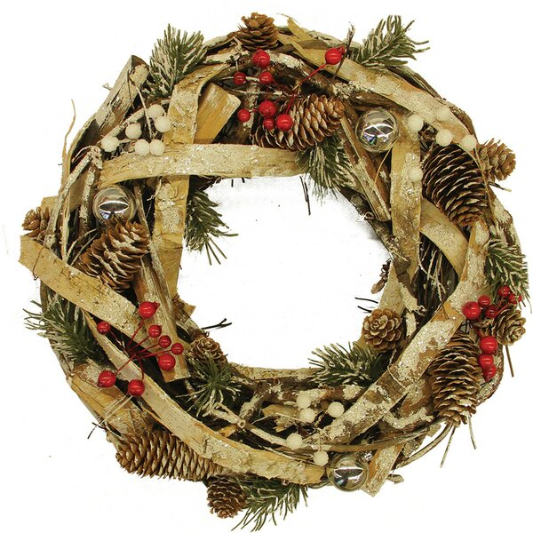 13.5 Pine Cones and Berries Christmas Wreath by Northlight Seasonal