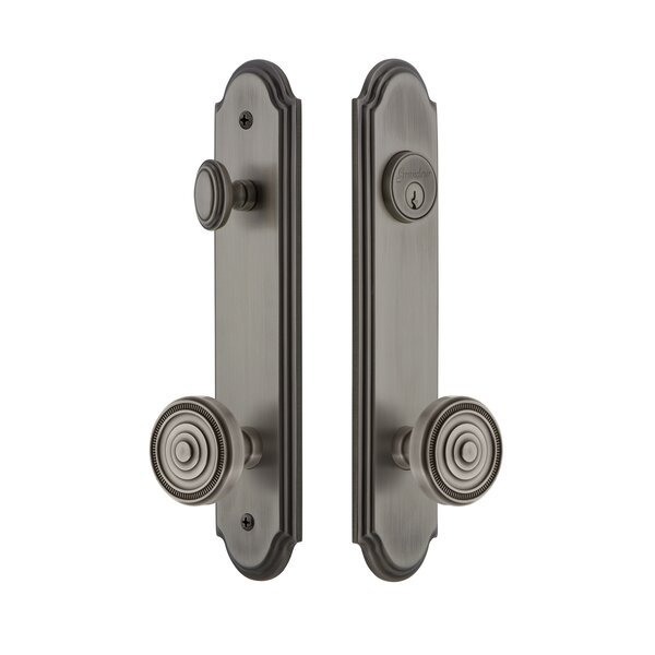 Arc Tall Plate Single Cylinder One Piece Knobset with Soleil Knob by Grandeur