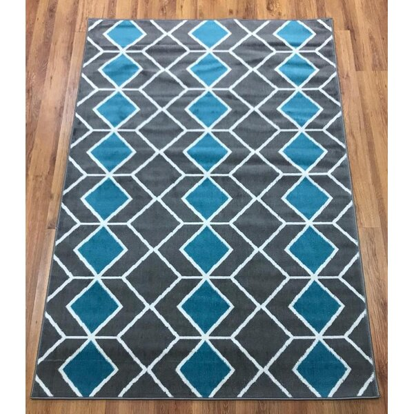Abdo Kashan King Blue/Gray Area Rug by Wrought Studio