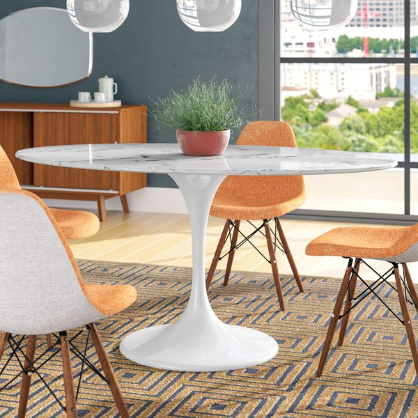 Kylee Artificial Marble Oval-Shaped Dining Table by Langley Street