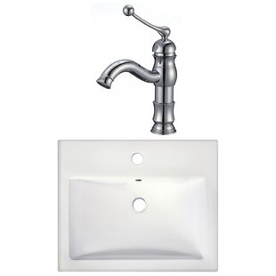 Affordable Price 1 Hole Ceramic Rectangular Drop-In Bathroom Sink with Faucet By American Imaginations