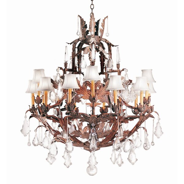 French Baroque 15-Light Shaded Empire Chandelier By 2nd Ave Design