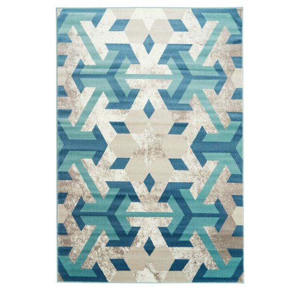 Crider Irish Snowflake Teal/Ivory Area Rug by Ebern Designs