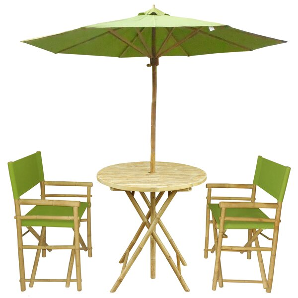 Petra 3 Piece Bistro Set with Umbrella by Bay Isle Home