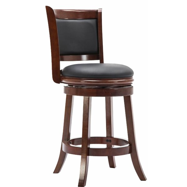 Deshmuk Swivel Solid Wood Bar Stool by Red Barrel Studio Red Barrel Studio