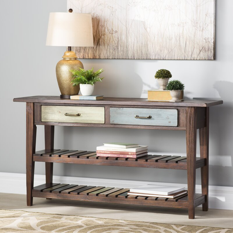 August grove lexington console table reviews wayfair for Sofa table pictures