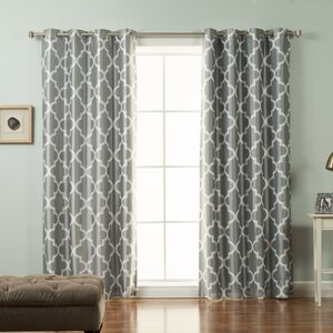 Columbard Geometric Blackout Thermal Grommet Single Curtain Panel