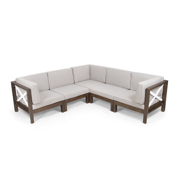 Paquette Outdoor Patio Sectional with Cushions by Breakwater Bay