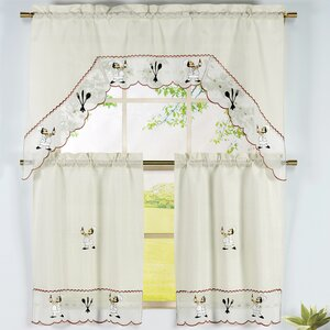 Wine Chef 3 Piece Embroidered Kitchen Valance and Tier Set