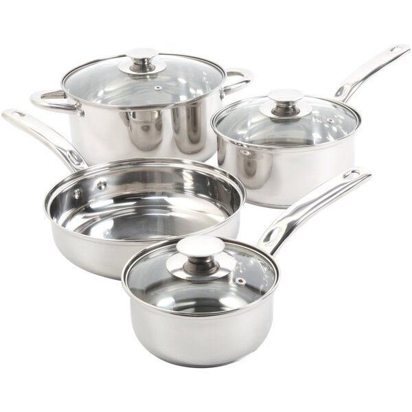 Ansonville 4 Piece Non-Stick Stainless Steel Cookware Set by Gibson
