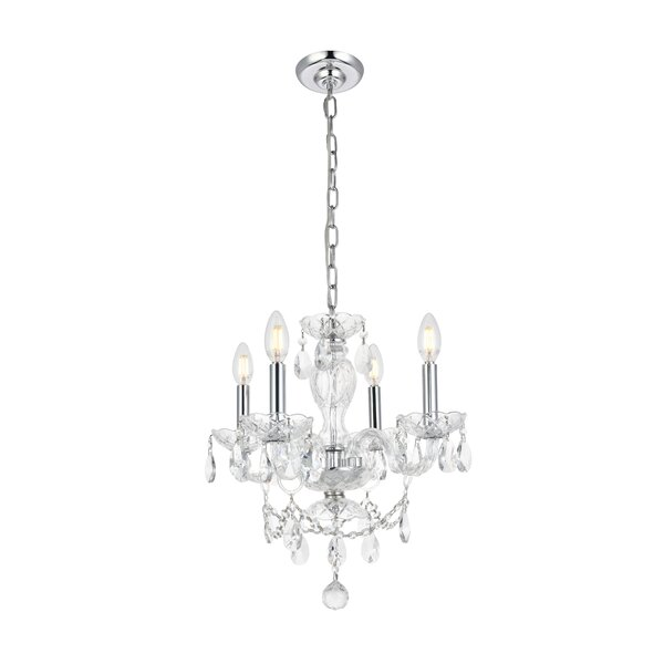 Rochelle 4 - Light Candle Style Classic / Traditional Chandelier with Crystal Accents by Rosdorf Park Rosdorf Park