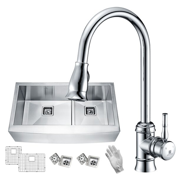 Elysian 33 x 21 Double Basin Farmhouse Kitchen Sink with Faucet by ANZZI