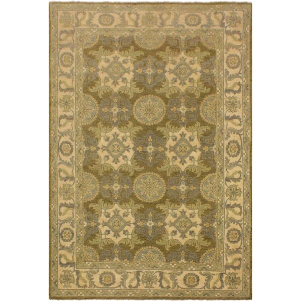 One-of-a-Kind Dorn Hand-Knotted Wool Green/Ivory Area Rug by Isabelline