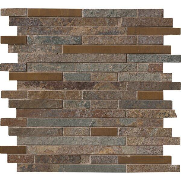 Rustic Creek Interlocking Stone/Metal Mosaic Tile in Multicolor by MSI