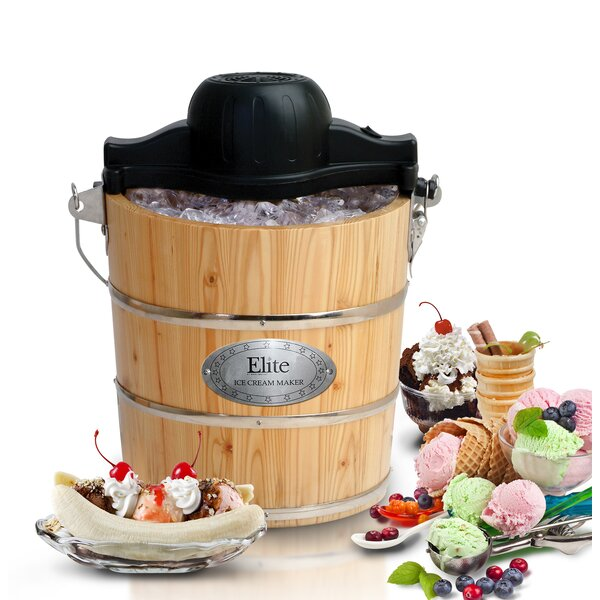 Electric Ice Cream Maker Part - 25: Old Fashioned Pine Bucket Electric And Manual Ice Cream Maker U0026 Reviews |  Wayfair