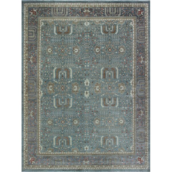 One-of-a-Kind Suzann Fine Chobi Hand-Knotted Green/Gray Area Rug by Isabelline