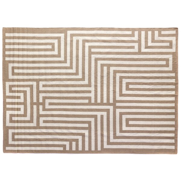 Flat woven Wool Beige Area Rug by Exquisite Rugs