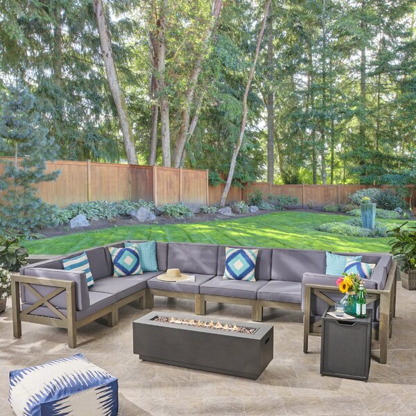 Samuel Outdoor Farmhouse Sectional Seating Group with Cushion by Longshore Tides