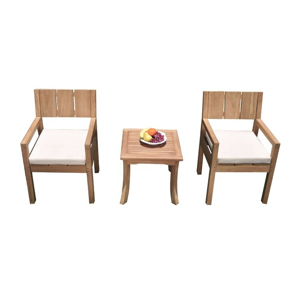 Khalid 3 Piece Teak Bistro Set by Rosecliff Heights