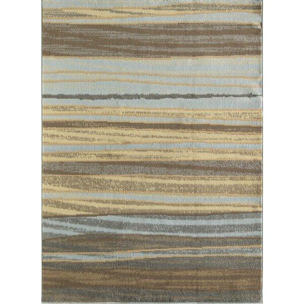 Nolasco Striped Blue/Gray Area Rug by Ebern Designs