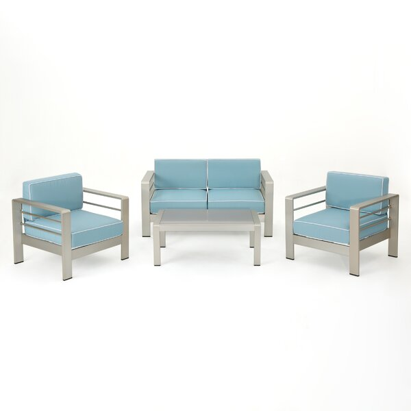 Durbin 4 Piece Sofa Set with Cushions by Wade Logan