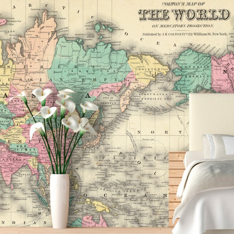 Swag paper colorful world map wall mural reviews wayfair colorful world map wall mural gumiabroncs Gallery