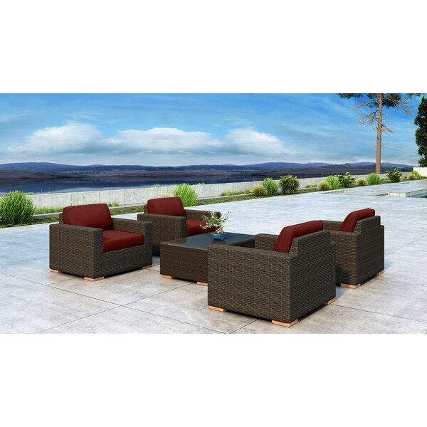 Glen Ellyn 5 Piece Sunbrella Sofa Seating Group with Cushions