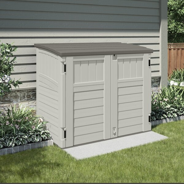 Utility 4 ft. 4 in. W x 2 ft. 8 in. D Plastic Horizontal Garbage Shed by Suncast