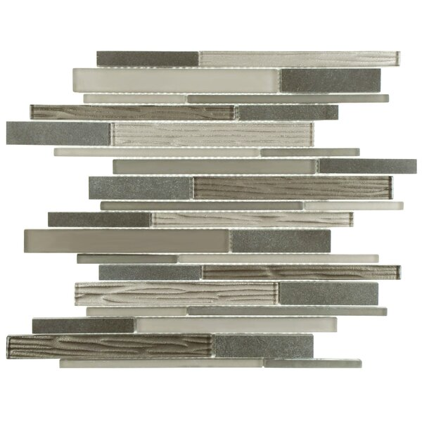 Sierra Grand Piano Random Sized Glass and Stone Mosaic Tile in Basalt Gray/Brown by EliteTile