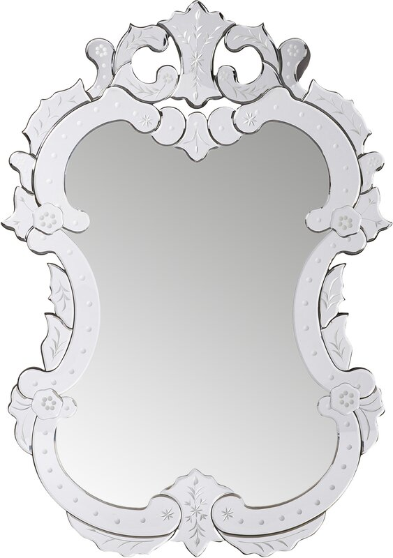 Etched Floral Vertical Wall Mirror