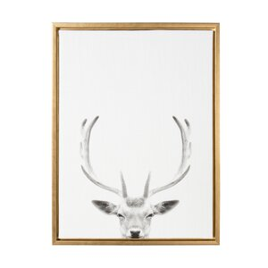 'Sylvie Deer with Antlers Black and White Portrait' Framed Photographic Print on Canvas by Kate and Laurel
