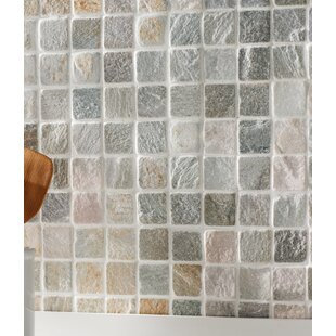 Mosaic tile youll love wayfair 2 x 2 slate mosaic tile in golden white ppazfo